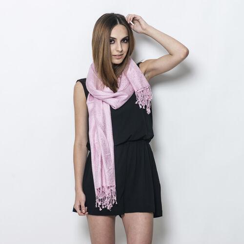 Jacquard Pattern Dusk Pink Colour Shawl (Size 70x180 Cm)