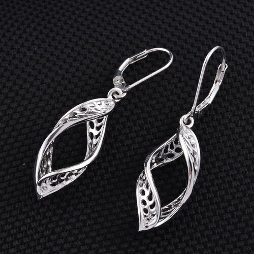 Platinum Overlay Sterling Silver Lever Back Earrings, Silver wt 4.21 Gms.