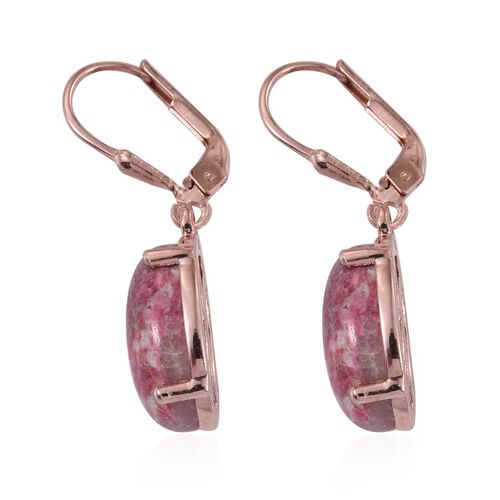 Norwegian Thulite (Ovl) Earrings in Rose Gold Overlay Sterling Silver 13.750 Ct.