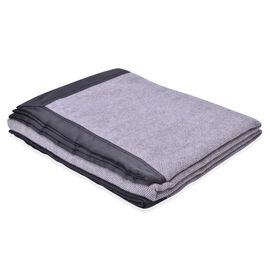 100% Woolmark Certified Australian Merino Wool Grey Colour Throw with Satin Border (Size 160x130 Cm)