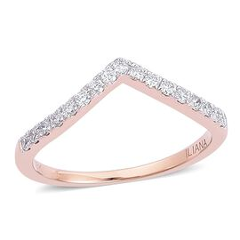 ILIANA 18K Rose Gold 0.25 Carat IGI Certified Diamond SI G-H Wishbone Ring