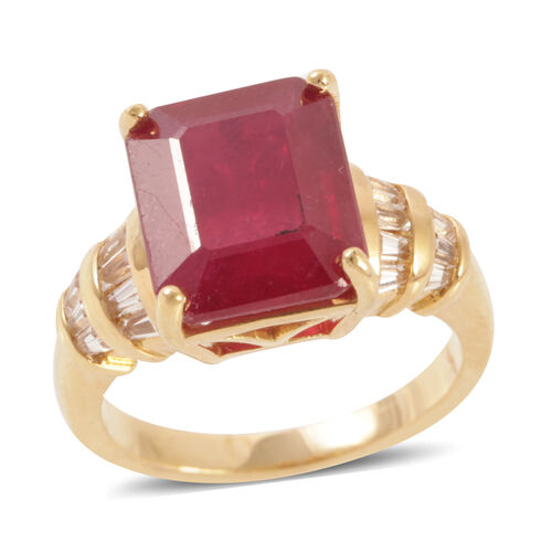 African Ruby (Oct 10.00 Ct), White Topaz Ring in 14K Yellow Gold Overlay Sterling Silver 11.000 Ct.