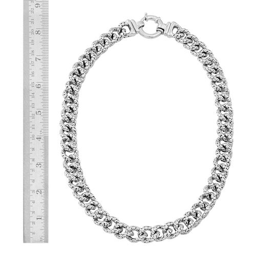 Vicenza Collection Designer Inspired Sterling Silver Curb Necklace (Size 20), Silver wt 61.64 Gms.