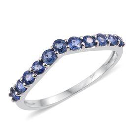 9K White Gold 1 Carat Ceylon Blue Sapphire Wishbone Ring