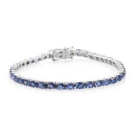 9K W Gold AA Ceylon Blue Sapphire (Ovl) Tennis Bracelet (Size 7.5) 9.500 Ct.