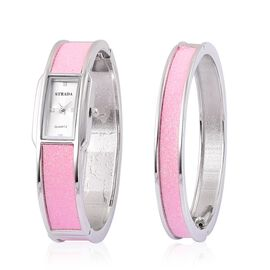 STRADA Japanese Movement White Dial Water Resistant Watch and Bangle (Size 7.5) with Pink Stardust and Silver Tone Strap