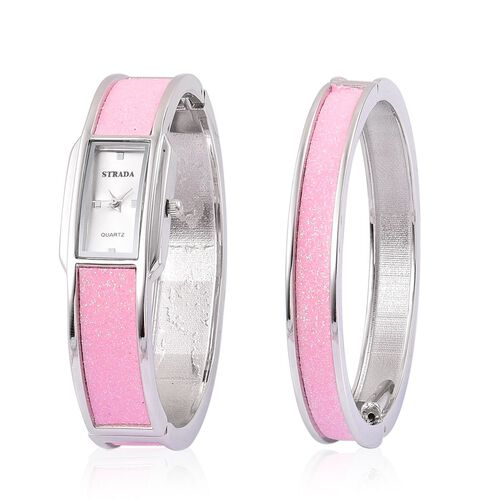 STARDA Japanese Movement White Dial Water Resistant Watch and Bangle (Size 7.5) with Pink Stardust and Silver Tone Strap