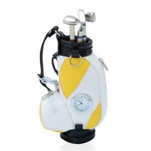 STRADA Japanese Movement White Dial Yellow and White Colour Golf Bag Design Clock with Three Ball Point Pen