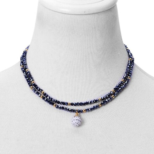 AAA Simulated Black Spinel and White Austrian Crystal Multi Strand Necklace (Size 34) in Gold Tone with Stainless Steel