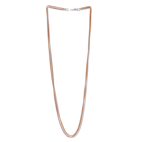 Close Out Deal Yellow, Rose Gold and Rhodium Plated Sterling Silver 3 Strand Popcorn Chain (Size 24), Silver wt 10.60 Gms.