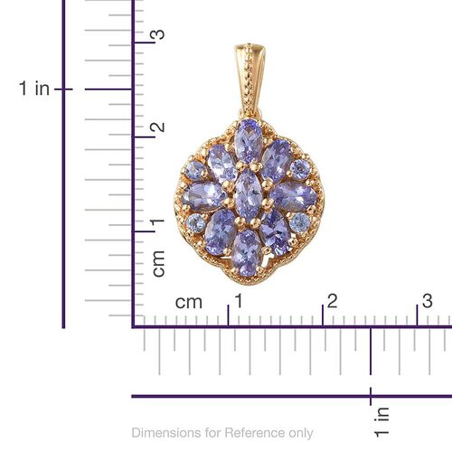 Tanzanite (Mrq) Pendant in 14K Gold Overlay Sterling Silver 2.250 Ct.
