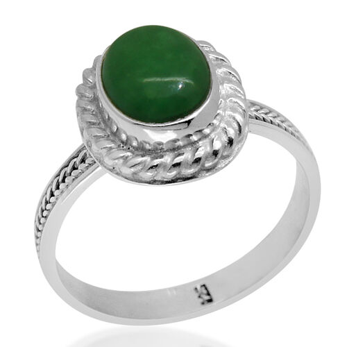 Royal Bali Collection Chinese Green Jade (Ovl) Solitaire Ring in Sterling Silver 3.080 Ct.