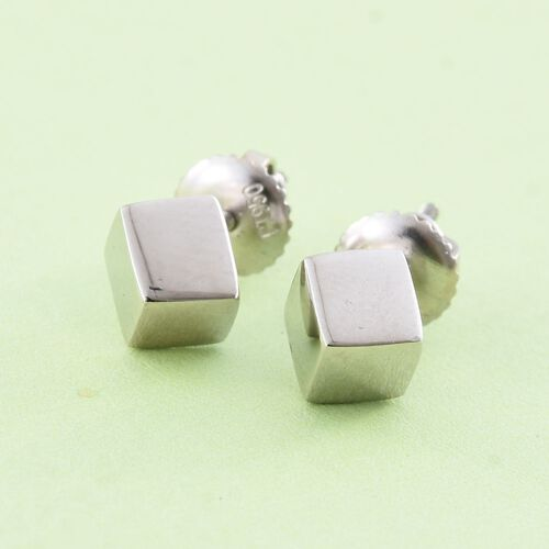 RHAPSODY 950 Platinum Cube Stud Earrings (with Screw Back)