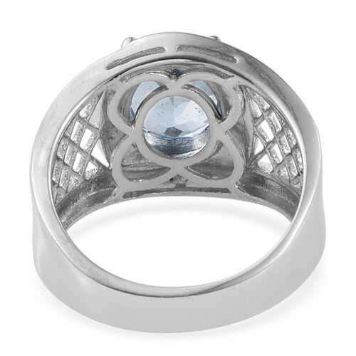 Sky Blue Topaz (Ovl 3.25 Ct), Diamond Ring in ION Plated Platinum Bond 3.255 Ct.