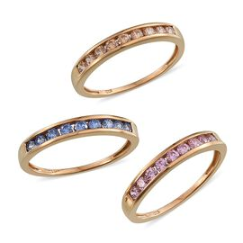 Set of 3 - J Francis - 14K Gold Overlay Sterling Silver (Rnd) Half Eternity Band Ring Made with Yellow, Blue and Pink SWAROVSKI ZIRCONIA 1.620 Ct.