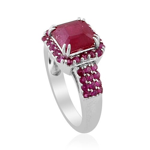 African Ruby (Oct 3.00 Ct), Burmese Ruby Ring in Platinum Overlay Sterling Silver 4.750 Ct.