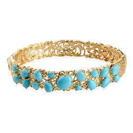 Arizona Sleeping Beauty Turquoise (Ovl 2.25 Ct) Bangle in 14K Gold Overlay Sterling Silver (Size 7.5) 9.500 Ct.
