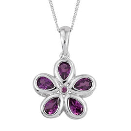 Rare Mozambique Grape Colour Garnet (Pear) Floral Pendant With Chain in Platinum Overlay Sterling Silver 2.500 Ct.