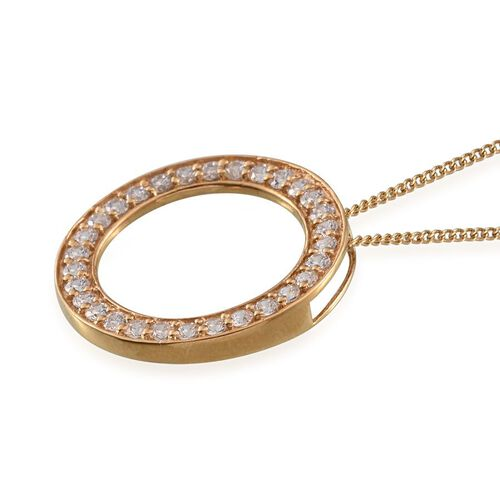 J Francis - 14K Gold Overlay Sterling Silver (Rnd) Circle Pendant With Chain Made with SWAROVSKI ZIRCONIA