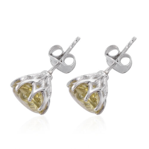 Natural Green Gold Quartz (Rnd) Stud Earrings (with Push Back) in Platinum Overlay Sterling Silver 3.500 Ct.