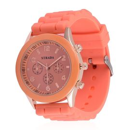 Designer Inspired STRADA Rose Gold Tone Watch with Orange Silicone Strap with Gift Paking Box