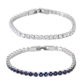 Set of 2 - AAA Simulated Tanzanite (Rnd), Simulated Diamond Tennis Bracelet (Size 7.5) in Silver Tone