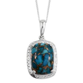 Blue Turquoise (Cush) Solitaire Pendant With Chain in Sterling Silver 7.250 Ct.