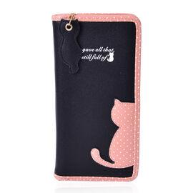 Black & Pink Colour Cat Charm Wallet (Size 19x9x3 Cm)