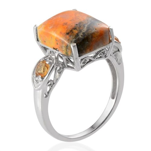 Bumble Bee Jasper (Oct 8.75 Ct), Citrine Ring in Platinum Overlay Sterling Silver 9.250 Ct.