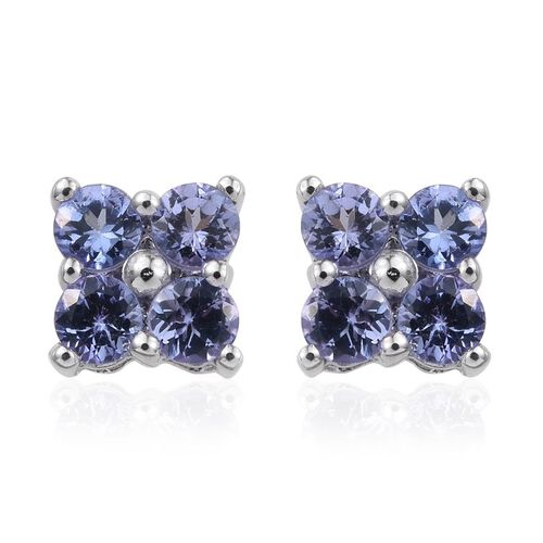 9K White Gold 0.50 Carat Tanzanite Round Stud Earrings with Push Back.