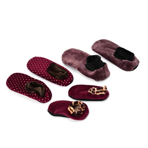 Set of 3 - Burgundy and Brown Dotted Print 100% Polyester Fleece Sherpa Set  Bootie Socks (Size one for all)