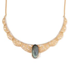 Labradorite (Ovl) Necklace (Size 18) in 14K Gold Overlay Sterling Silver 25.000 Ct.