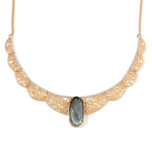 AAA Labradorite (Ovl) Necklace (Size 18) in 14K Gold Overlay Sterling Silver 25.000 Ct.