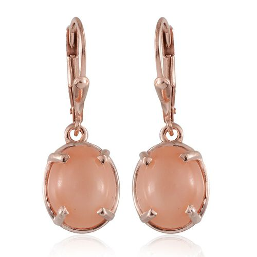 Mitiyagoda Peach Moonstone (Ovl) Earrings in Rose Gold Overlay Sterling Silver 8.750 Ct.