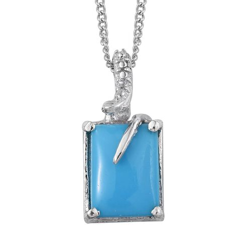 Arizona Sleeping Beauty Turquoise (Oct) Solitaire Pendant with Chain in Platinum Overlay Sterling Silver 1.250 Ct.