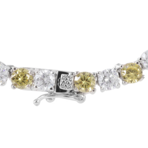 Close Out Deal AAA Simulated Citrine (Rnd), Simulated White Diamond Necklace (Size 17) in Silver Bond