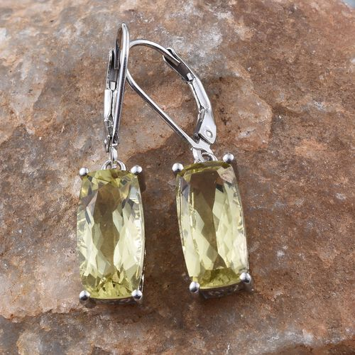 Natural Ouro Verde Quartz (Cush) Earrings in Platinum Overlay Sterling Silver 7.000 Ct.