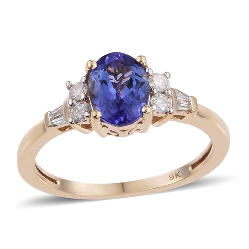 9K Y Gold AA Tanzanite (Ovl 1.05 Ct), Diamond Ring 1.250 Ct.
