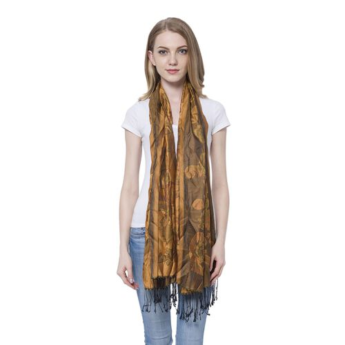 Red and Green Colour Blooming Rose Pattern Dark Brown Colour Scarf with Tassels (Size 180x70 Cm)