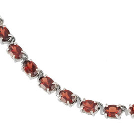 Mozambique Garnet (Ovl) Necklace in Rhodium Plated Sterling Silver (Size 18) 50.000 Ct.