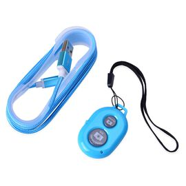 Blue Colour iPhone and Android Selfie Remote and 2 in 1 USB Cable