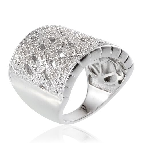 Diamond (Rnd) Cluster Ring in Platinum Overlay Sterling Silver 1.000 Ct.