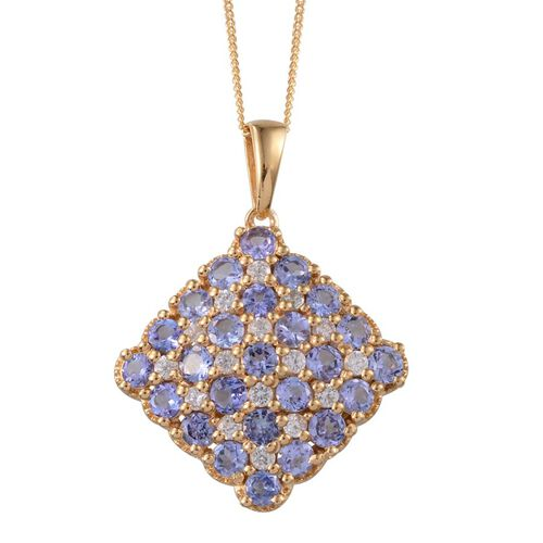 Tanzanite (Rnd), Natural Cambodian Zircon Cluster Pendant With Chain in 14K Gold Overlay Sterling Silver 4.000 Ct.