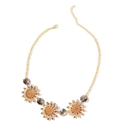 Simulated Grey Diamond Sunfloral BIB Necklace (Size 20 with 2 inch Extender) in Yellow Gold Tone