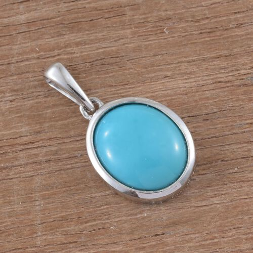9K White Gold 2.5 carat AA Sleeping Beauty Turquoise Oval Solitaire Pendant