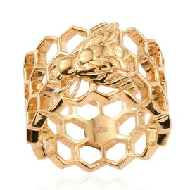 14K Gold Overlay Sterling Silver Honey Comb with Bee Band Ring, Silver wt 5.00 Gms.