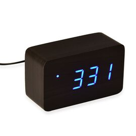 Wooden Style Brick LED Clock( With Sound Activation, 3 Alarm Setting, Room Temperature, Date Display Feature)- Black-Blue