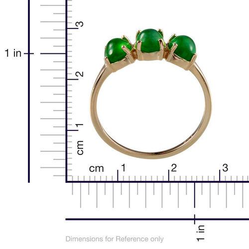 9K Y Gold Green Ethiopian Opal (Ovl) Trilogy Ring 1.750 Ct.