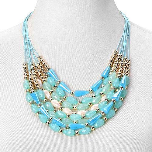 Simulated Aquamarine and Multi Colour Beads Necklace (Size 21 with 2 inch Extender) in Yellow Gold Tone