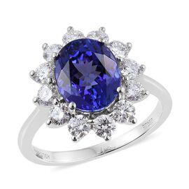 RHAPSODY 950 Platinum AAAA Tanzanite (Ovl 3.35 Ct), Diamond Floral Ring 4.350 Ct.